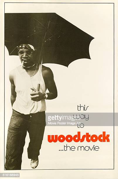 A poster for the movie 'Woodstock' chronicling the legendary 1969 music festival 1970 The tagline reads 'This way to Woodstock the movie'