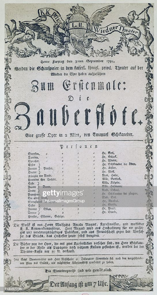 Poster for the opera 'The Magic Flute' 1791 Wolfgang Amadeus Mozart's last opera libretto by Emanuel Schikaneder it was first performed in Vienna on...