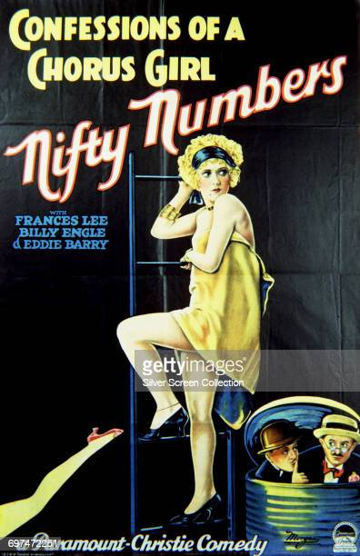 A poster for the ParamountChristie comedy short 'Nifty Numbers' part of the 'Confessions of a Chorus Girl' series starring Frances Lee Billy Engle...