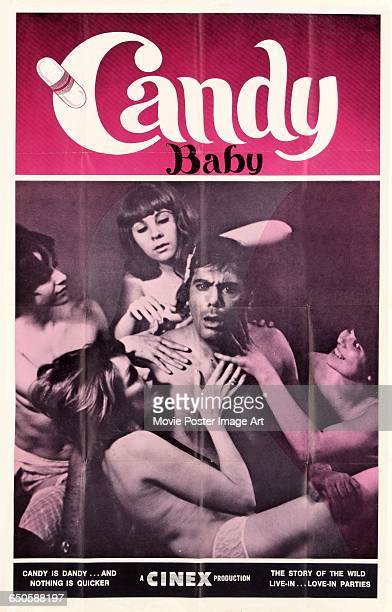 Image contains suggestive contentA poster for the pornographic film 'Candy Baby' a Cinex production 1969