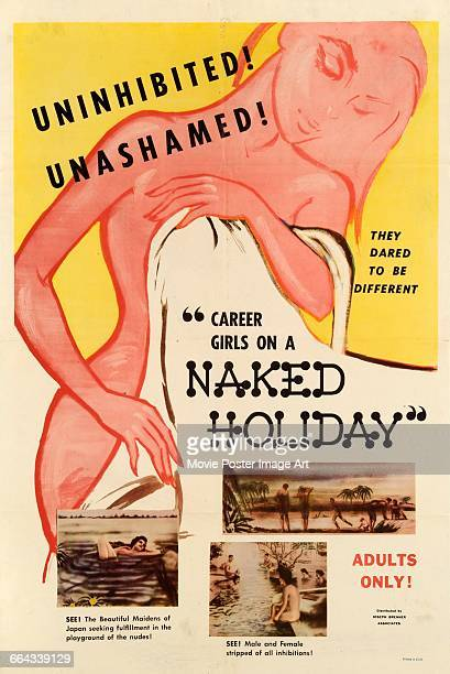 Image contains suggestive contentA poster for the pornographic film 'Career Girls on a Naked Holiday' 1960