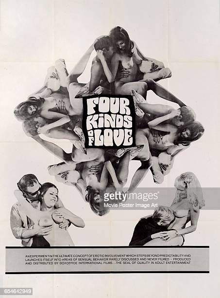 Image contains suggestive contentA poster for the pornographic film 'Four Kinds of Love' produced and distributed by Boxoffice International Films...