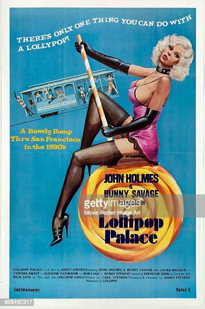 Image contains suggestive contentA poster for the pornographic film 'Lollipop Palace' starring John Holmes and Bunny Savage and set in San Francisco...