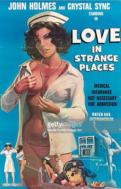 Image contains suggestive contentA poster for the pornographic film 'Love in Strange Places' starring John Holmes and Crystal Sync 1976