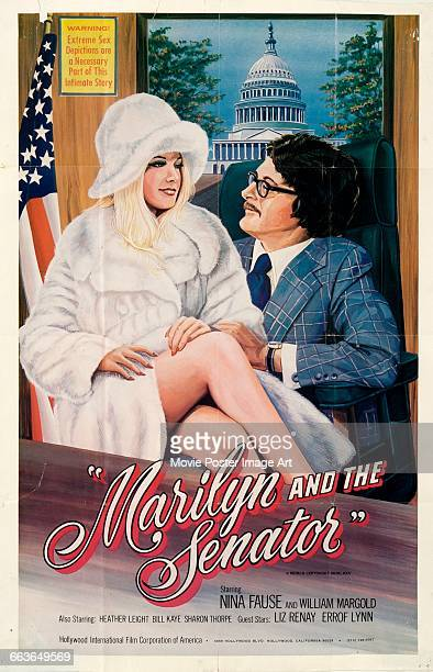 Image contains suggestive contentA poster for the pornographic film 'Marilyn and the Senator' starring Nina Fause and William Margold and directed by...