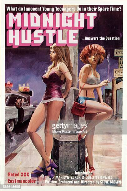 Image contains suggestive contentA poster for the pornographic film 'Midnight Hustle' directed by Rick Beaty and starring Mimi Zuber and Marsha Wolfe...