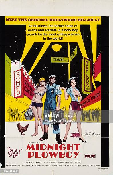 Image contains suggestive contentA poster for the pornographic film 'Midnite Plowboy' or 'Midnight Plowboy' about a hillbilly in Hollywood 1971 The...