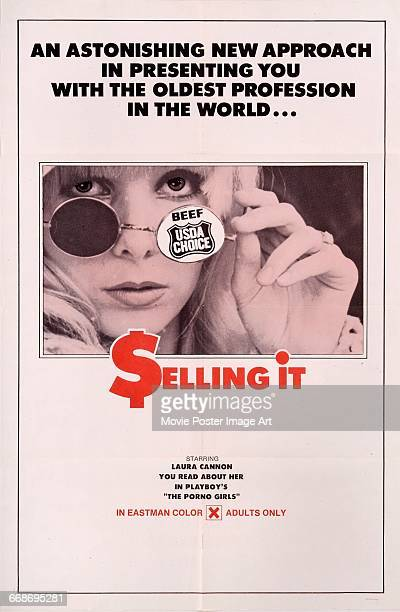 Image contains suggestive contentA poster for the pornographic film 'Selling It' starring Laura Cannon 1972