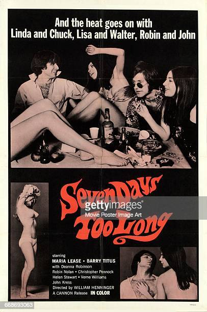 Image contains suggestive contentA poster for the pornographic film 'Seven Days Too Long' starring Maria Lease and Barry Titus 1968