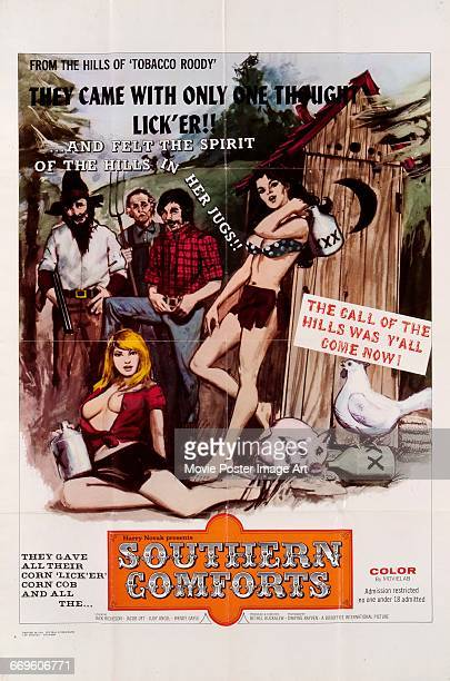 Image contains suggestive contentA poster for the pornographic film 'Southern Comforts' 1971