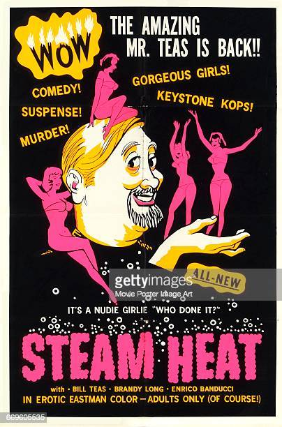 Image contains suggestive contentA poster for the pornographic film 'Steam Heat' starring Bill Teas Brandy Long and Enrico Balducci 1963