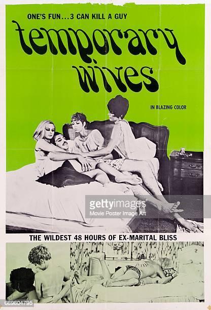 Image contains suggestive contentA poster for the pornographic film 'Temporary Wives' featuring a ménage à quatre 1969