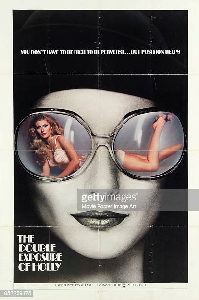 Image contains suggestive contentA poster for the pornographic film 'The Double Exposure of Holly' with the tagline 'You don't have to be rich to be...