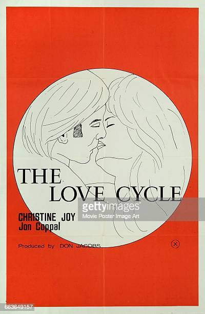 Image contains suggestive contentA poster for the pornographic film 'The Love Cycle' starring Christine Joy and Jon Coppal and produced by Don Jacobs...