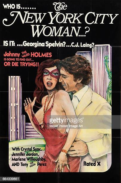 Image contains suggestive contentA poster for the pornographic film 'The New York City Woman' starring John Holmes Georgina Spelvin and CJ Laing 1977