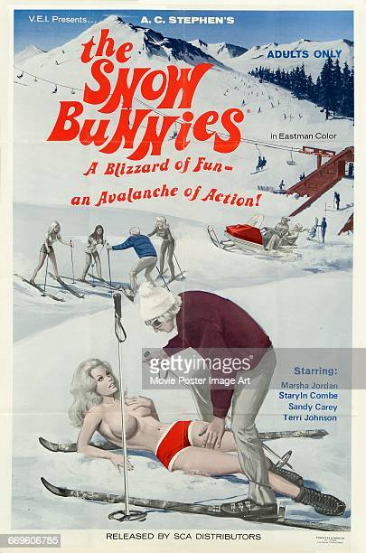 Image contains suggestive contentA poster for the pornographic film 'The Snow Bunnies' set on and around the piste 1972