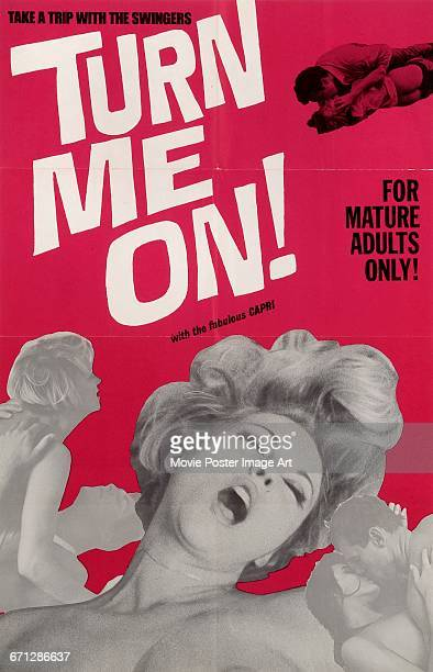 Image contains suggestive contentA poster for the pornographic film 'Turn Me On' starring Capri 1968