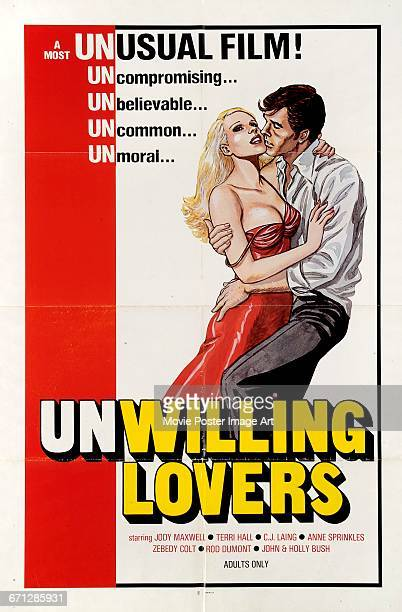 Image contains suggestive contentA poster for the pornographic film 'Unwilling Lovers' starring Jody Maxwell and Terri Hall 1975