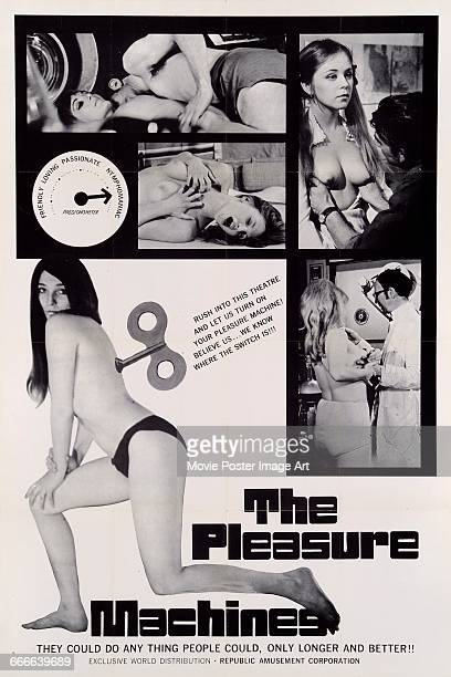 Image contains suggestive contentA poster for the pornographic scifi film 'The Pleasure Machines' in which sex robots satisfy mens' desires 1969