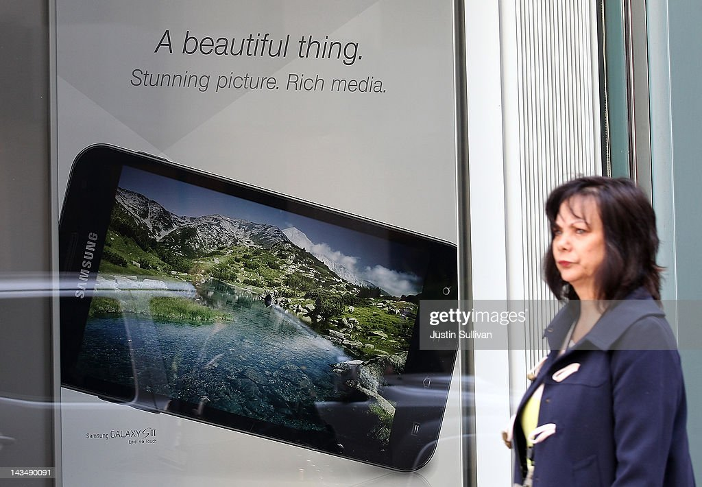 A poster for the Samsung Galaxy smartphone is seen on display at a Sprint store on April 27, 2012 in San Francisco, California. Samsung Electronics reported a record $5.15 billion quarterly profit and estimates that their Galaxy smartphones, will continue to be a hot seller and boost earnings in the current quarter.