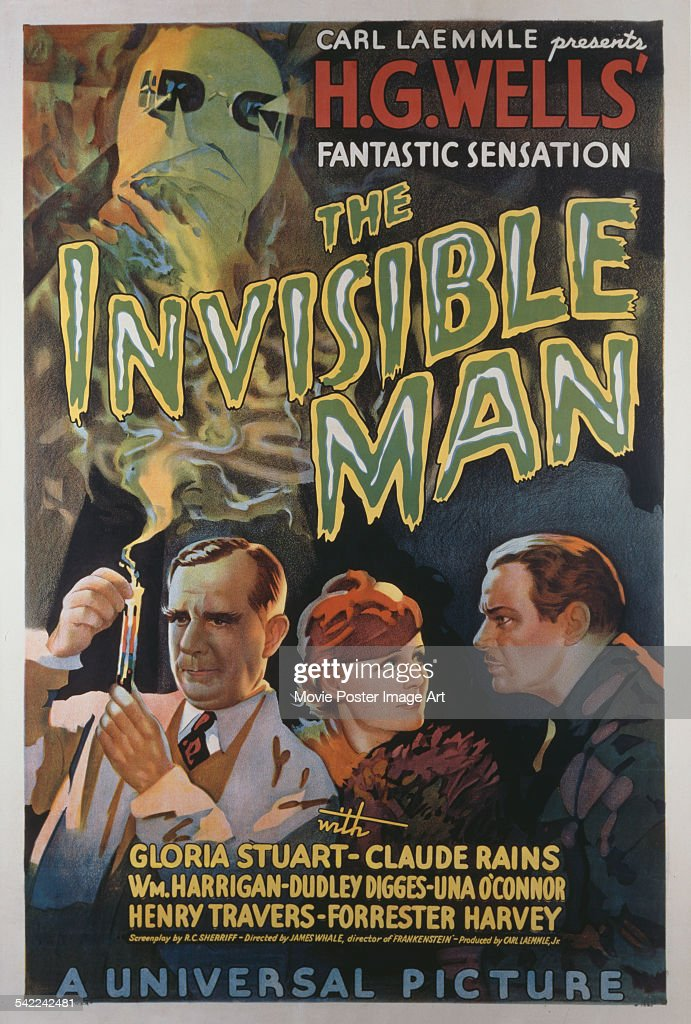 A poster for the Universal Pictures film 'The Invisible Man', based on the story by H. G. Wells, 1933.