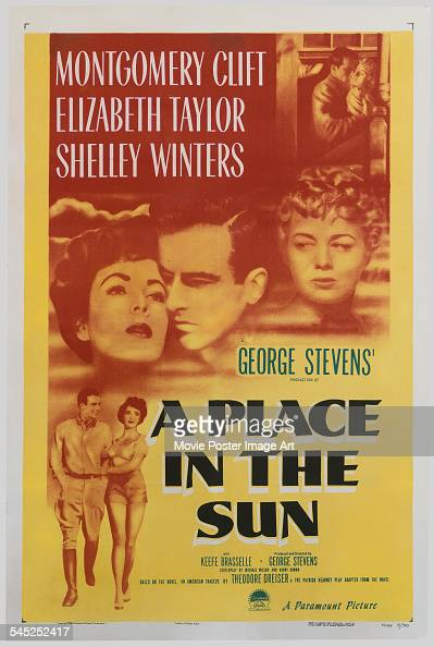 A poster for the US release of George Stevens' 1951 drama 'A Place In The Sun' starring Montgomery Clift Elizabeth Taylor and Shelley Winters