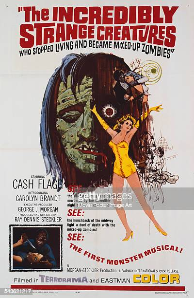 A poster for the US release of Ray Dennis Steckler's 1964 horror film 'The Incredibly Strange Creatures Who Stopped Living and Became MixedUp...