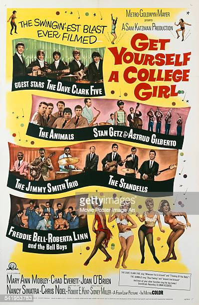 A poster for the US release of Sidney Miller's 1964 comedy 'Get Yourself A College Girl' starring Mary Ann Mobley Joan O'Brien Nancy Sinatra and...