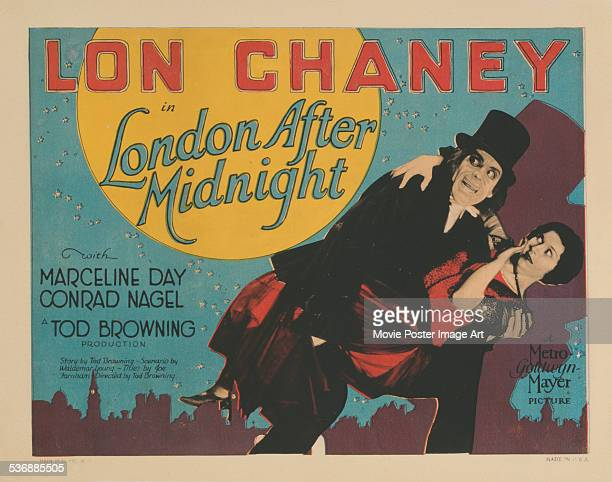 A poster for Tod Browning's 1927 drama 'London After Midnight' starring Lon Chaney The film is now lost
