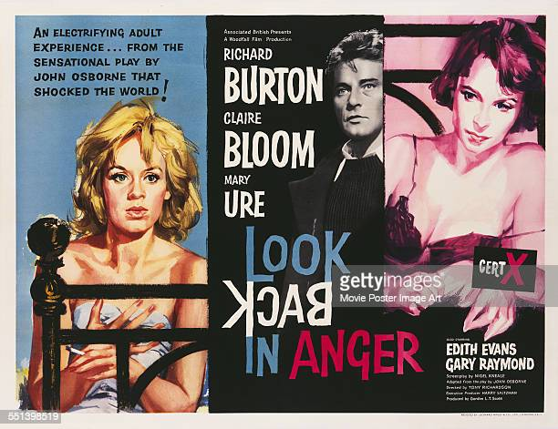A poster for Tony Richardson's 1959 drama 'Look Back in Anger' starring Richard Burton Claire Bloom and Mary Ure