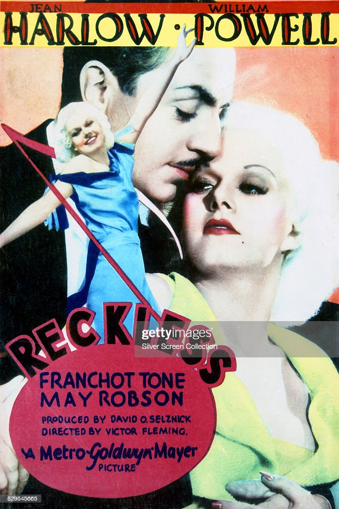 A poster for Victor Fleming's 1935 musical 'Reckless' starring Jean Harlow and William Powell