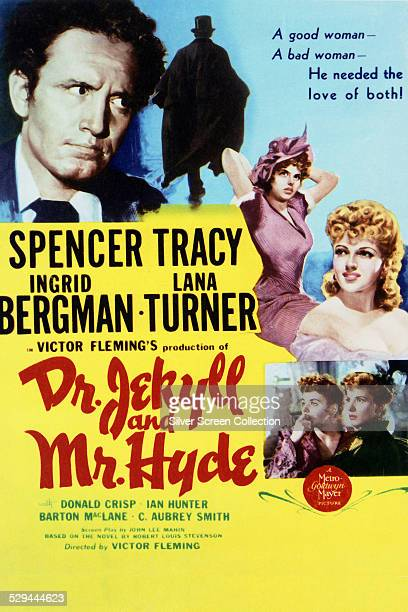 A poster for Victor Fleming's 1941 horror film 'Dr Jekyll and Mr Hyde' starring Spencer Tracy Ingrid Bergman and Lana Turner