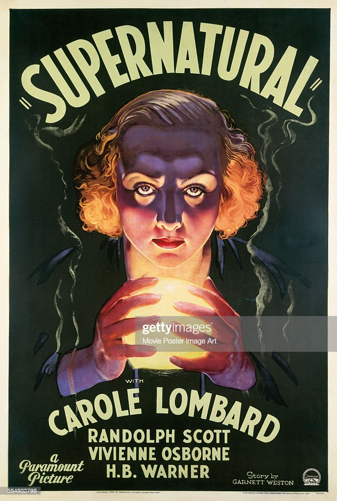A poster for Victor Halperin's 1933 horror film 'Supernatural' starring <a gi-track='captionPersonalityLinkClicked' href=/galleries/search?phrase=Carole+Lombard&family=editorial&specificpeople=93207 ng-click='$event.stopPropagation()'>Carole Lombard</a>.