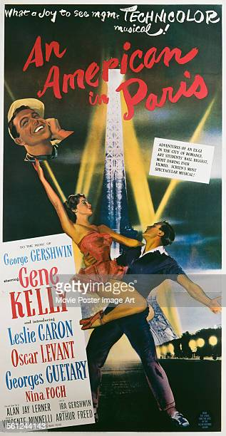 A poster for Vincente Minnelli's 1951 musical 'An American in Paris' starring Gene Kelly and Leslie Caron