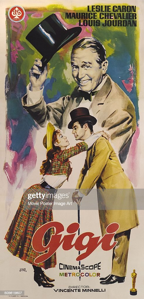A poster for Vincente Minnelli's 1958 comedy 'Gigi' starring <a gi-track='captionPersonalityLinkClicked' href=/galleries/search?phrase=Leslie+Caron&family=editorial&specificpeople=212722 ng-click='$event.stopPropagation()'>Leslie Caron</a>, <a gi-track='captionPersonalityLinkClicked' href=/galleries/search?phrase=Maurice+Chevalier&family=editorial&specificpeople=209320 ng-click='$event.stopPropagation()'>Maurice Chevalier</a>, and <a gi-track='captionPersonalityLinkClicked' href=/galleries/search?phrase=Louis+Jourdan&family=editorial&specificpeople=899719 ng-click='$event.stopPropagation()'>Louis Jourdan</a>.