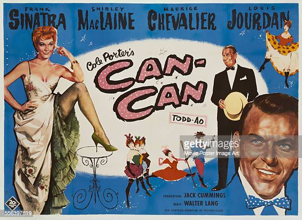 A poster for Walter Lang's 1960 comedy 'CanCan' starring Frank Sinatra Shirley MacLaine and Maurice Chevalier