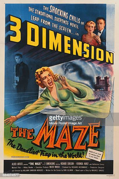 A poster for William Cameron Menzies' 1953 3D horror film 'The Maze' starring Richard Carlson and Veronica Hurst
