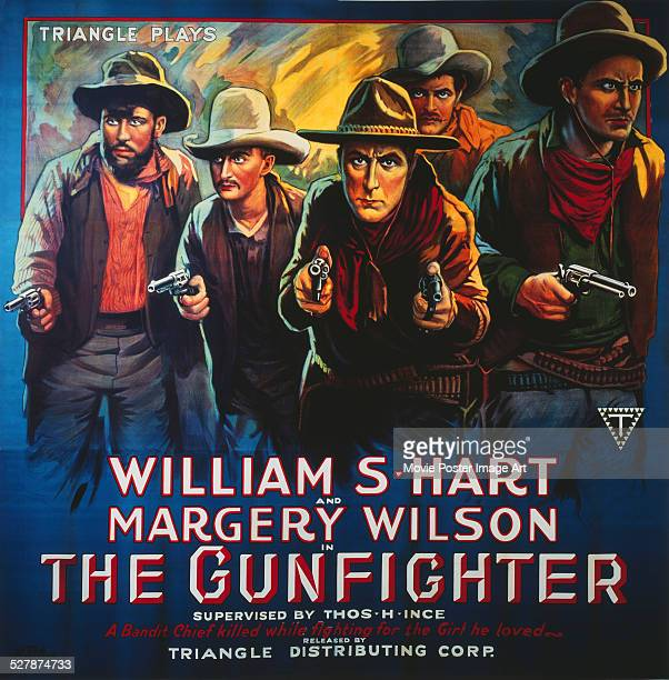 A poster for William S Hart's 1917 western 'The Gun Fighter'