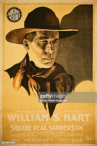 A poster for William S Hart's 1919 action film 'Square Deal Sanderson'