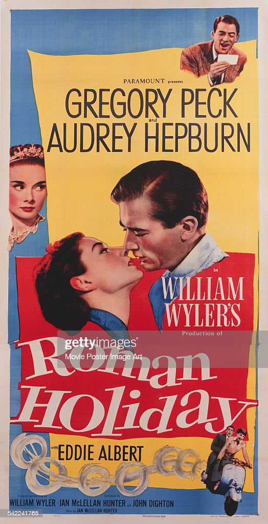A poster for William Wyler's 1953 comedy film 'Roman Holiday' starring Gregory Peck and Audrey Hepburn.