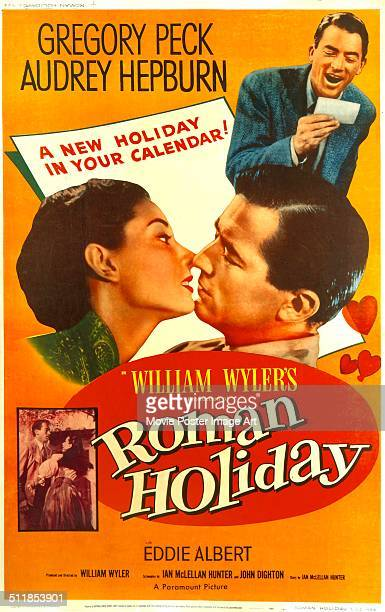 A poster for William Wyler's 1953 comedy 'Roman Holiday' starring Audrey Hepburn and Gregory Peck