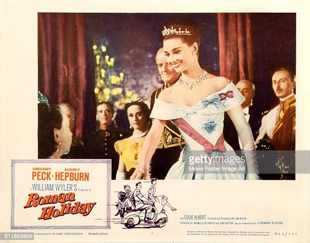 A poster for William Wyler's 1953 comedy 'Roman Holiday' starring Audrey Hepburn