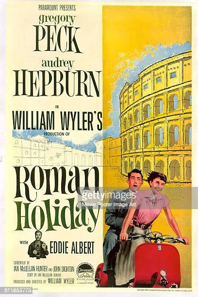 A poster for William Wyler's 1953 comedy 'Roman Holiday' starring Eddie Albert Audrey Hepburn and Gregory Peck