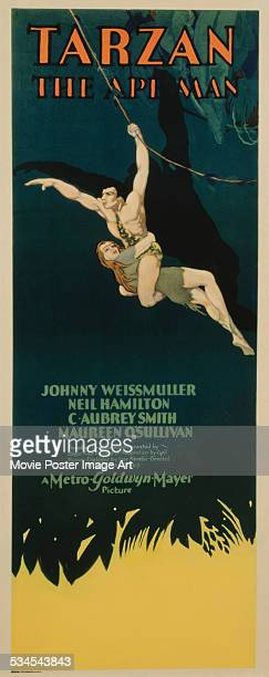 A poster for WS Van Dyke's 1932 action film 'Tarzan the Ape Man' starring Johnny Weissmuller and Maureen O'Sullivan