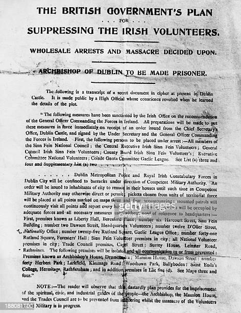 A poster issued by Irish republican organization the Irish Volunteers following the Easter Rising 1916 Entitled 'The British Government's Plan For...