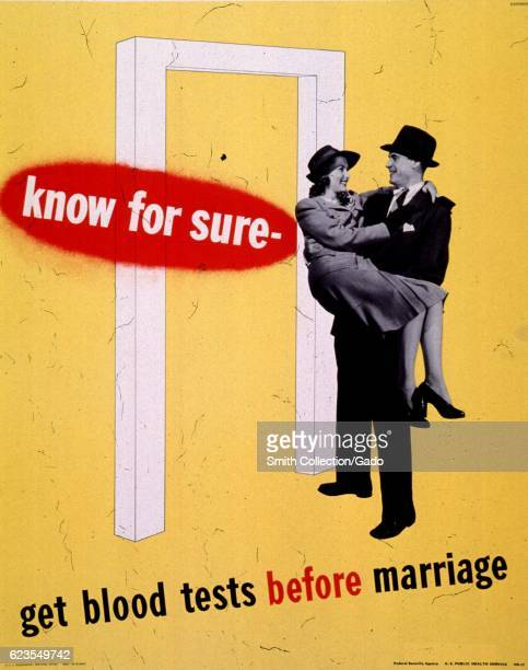 Poster issued by the United States Public Health Service depicting a man carrying a woman over a threshold encouraging people to get tested for...