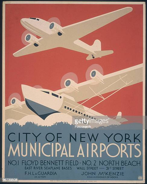 Poster issued by the Works Progress Administration Federal Art Project promoting New York City municipal airports Floyd Bennett Field and North Beach...