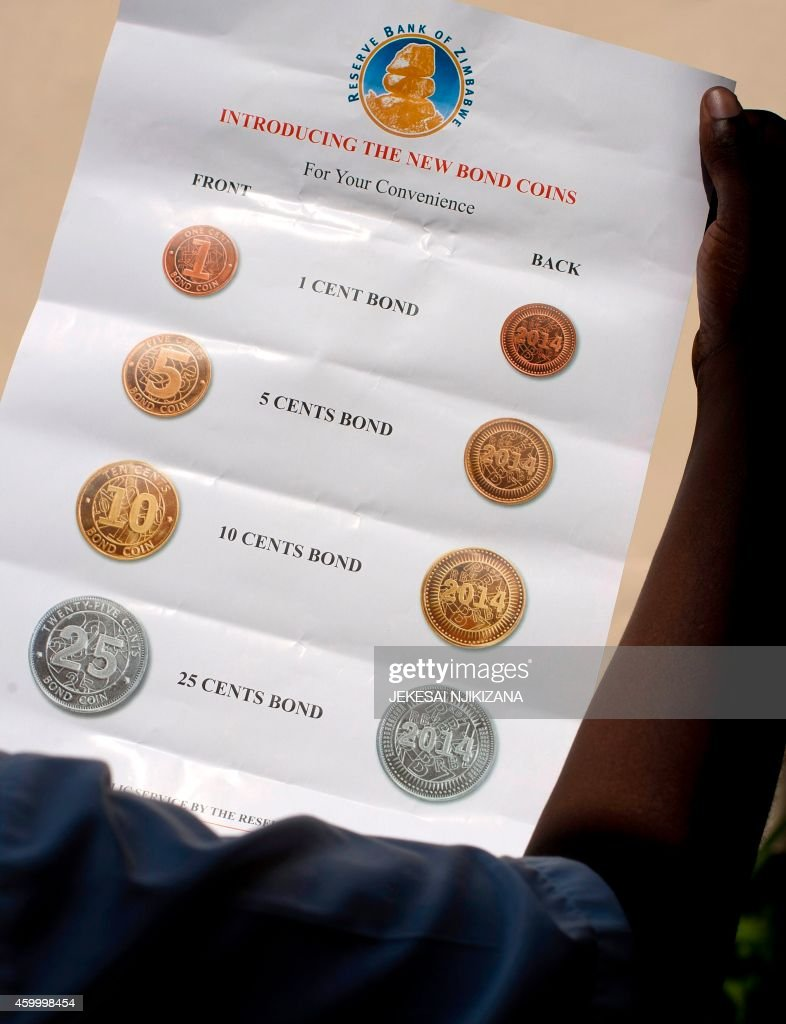 A poster of a set of coins to be put in circulation on December 18 is unveiled by Zimbabwe Reserve Bank Governor John Mangudya is shown in Harare on...