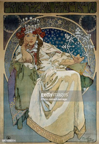 Poster of Alphonse Mucha for the premiere performance of the Ballet 'La princesse Hyacinthe' of Oskar Nedbal at the National Theatre Prague and...