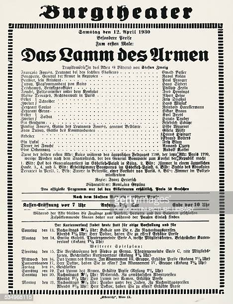 Poster of Das Lamm des Armen opera by Stefan Zweig at the Burgtheater in Vienna on April 12 1930 Austria 20th century Vienna Österreichische...